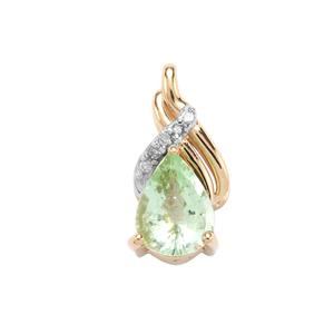 Paraiba Tourmaline Pendant with Diamond in 9K Gold 1ct