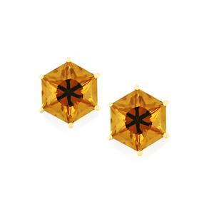 4.75ct Whisky Quartz 9K Gold Earrings