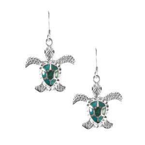2.50ct Chrysocolla Sterling Silver Turtle Earrings