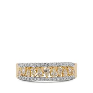 3/4ct Natural Yellow & White Diamond 18K Gold Ring