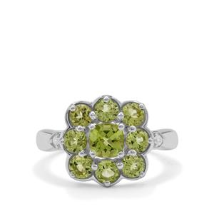 Red Dragon Peridot & White Zircon Sterling Silver Ring ATGW 2.20cts