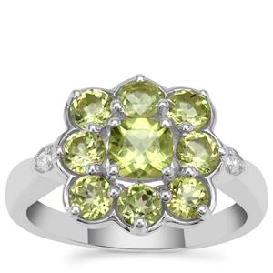 Red Dragon Peridot Ring with White Zircon in Sterling Silver 2.20cts