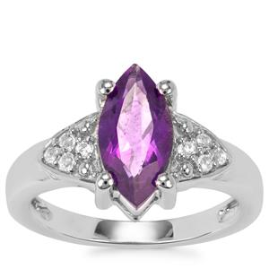 Zambian Amethyst Ring with White Topaz in Sterling Silver 1.86cts