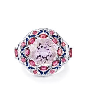 Pink Amethyst & Rhodolite Garnet Sterling Silver Enamel Ring ATGW 7.12cts