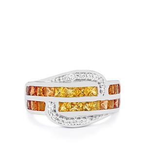 Songea Rainbow Sapphire & White Zircon Sterling Silver Ring ATGW 2.09cts