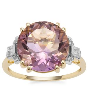Anahi Ametrine Ring with White Zircon in 9K Gold 5.63cts