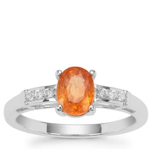 Mandarin Garnet Ring with White Zircon in Sterling Silver 1.39cts