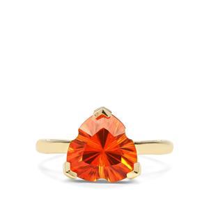 3.27ct Lehrer Infinity Cut Padparadscha Colour Quartz 9K Gold Ring