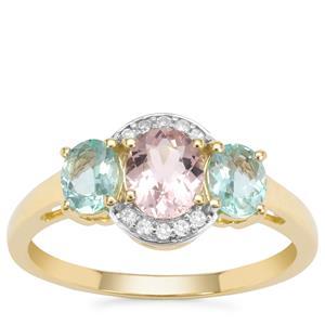 Cherry Blossom™ Morganite, Aquaiba™ Beryl Ring with Diamond in 9K Gold 1.20cts
