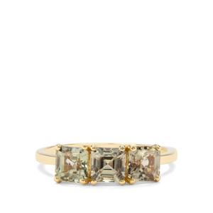 2.30ct Asscher Cut Csarite® 9K Gold Ring