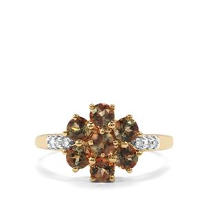 Gouveia Andalusite & Diamond 9K Gold Ring ATGW 1.29cts