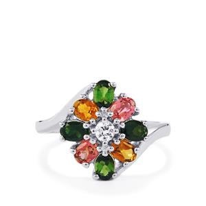 Rainbow Tourmaline & Ceylon Sapphire Sterling Silver Ring ATGW 1.42cts