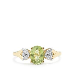 Cuprian Tourmaline Ring with Diamond in 18K Gold 1.26cts