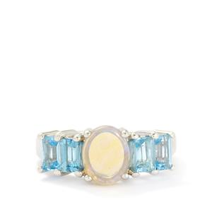 Jelly Opal & Swiss Blue Topaz Sterling Silver Ring ATGW 2.48cts