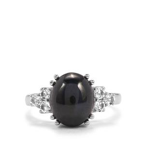 Madagascan Blue Star Sapphire & White Topaz Sterling Silver Ring ATGW 6.35cts
