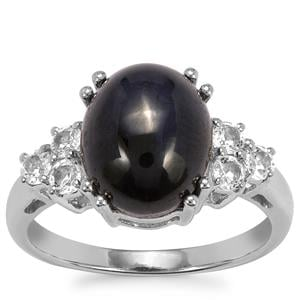 Madagascan Blue Star Sapphire Ring with White Topaz in Sterling Silver 6.35cts