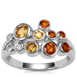 Maderia, Diamantina Citrine Essencia Ring with White Zircon in Sterling Silver 0.95cts