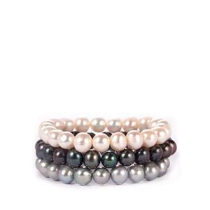 Multi-Colour Kaori Cultured Pearl Set of 3 Elastic Bracelet (9x8.50mm)