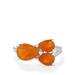 AA Strawberry American Fire Opal Ring with White Topaz in Sterling Silver 2.34cts