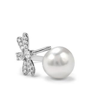 South Sea Cultured Pearl Ring with White Zircon in Sterling Silver (12mm)