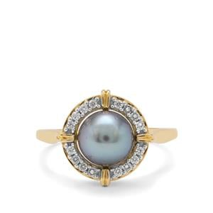 Tahitian Cultured Pearl Ring with White Zircon in 9K Gold (7mm)