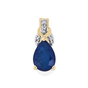 Santorinite™ Blue Spinel & Diamond 10K Gold Pendant ATGW 2.08cts