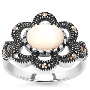 Natural Marcasite Jewels of Valais Ring with Mother of Pearl in Sterling Silver