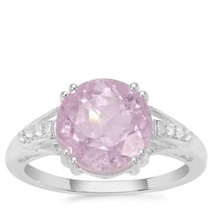 Brazilian Kunzite Ring with White Zircon in Sterling Silver 4.80cts