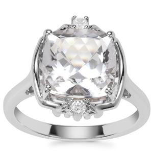 Optic Quartz Ring with White Zircon in Sterling Silver 4.42cts