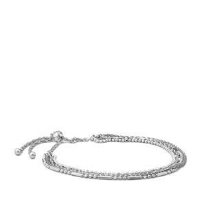 "10"" Sterling Silver Altro Multi Strand Adjustable Bracelet 4.69g"