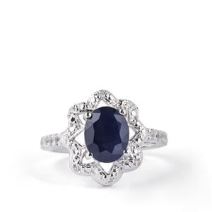 Madagascan Blue Sapphire & White Topaz Sterling Silver Ring ATGW 2.63cts