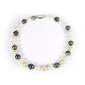Tahitian, South Sea & Golden South Sea Pearl Sterling Silver Necklace (14x12mm)