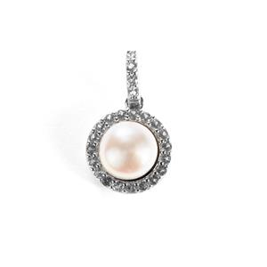 Kaori Cultured Pearl Pendant with White Topaz in Sterling Silver (7.5mm)
