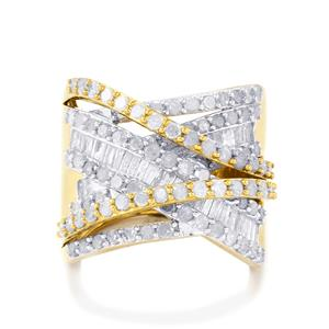 Diamond Ring in Gold Plated Sterling Silver 2.25ct
