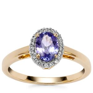 AA Tanzanite Ring with White Zircon in 9K Gold 0.82ct