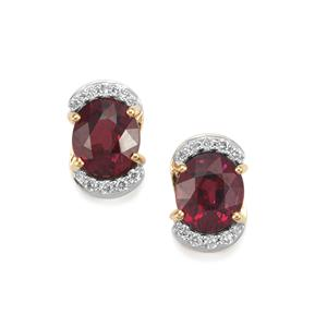 Malawi Garnet Earrings with Diamond in 18K Gold 3.49cts