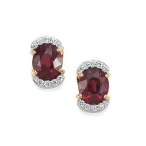 Malawi Garnet Earrings with Diamond in 18K Gold 3.49cts