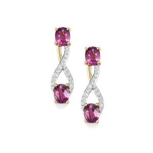 Comeria Garnet Earrings with Diamond in 18K Gold 2.02cts