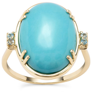 """"""" The Aurora"""" Sleeping Beauty Turquoise Ring with Marambaia London Blue Topaz in 9K Gold 9.36cts"""