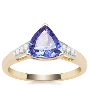 AA Tanzanite Ring with Diamond in 9K Gold 1.65cts