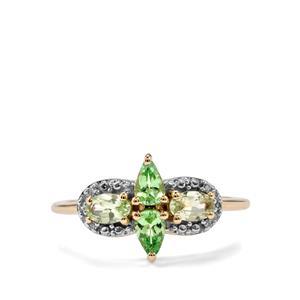 Merelani Mint Garnet & Diamond 9K Gold Ring ATGW 0.86cts