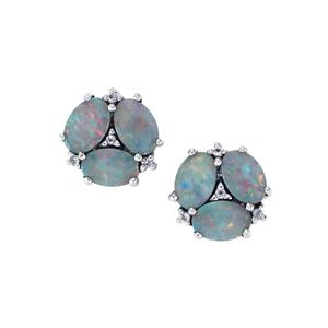 Crystal Opal on Ironstone Earrings with White Topaz in Sterling Silver