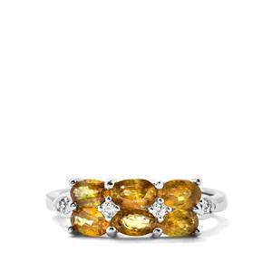 Ambilobe Sphene & White Topaz Sterling Silver Ring ATGW 1.80cts