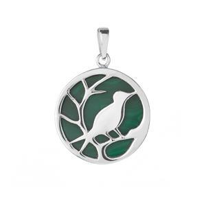 Malachite Bird Pendant  in Sterling Silver 10cts