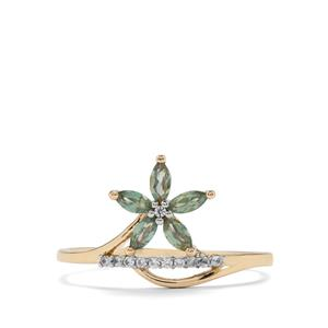 Alexandrite Ring with White Zircon in 9K Gold 0.39ct