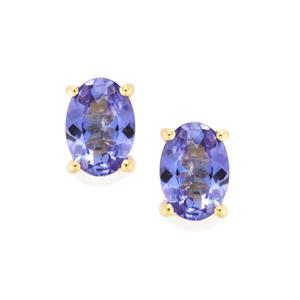 AA Tanzanite Earrings in 10K Gold 1.17cts
