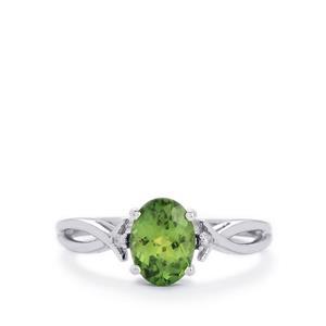 Mandrare Green Apatite & Diamond 10K White Gold Ring ATGW 1.24cts