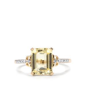 Canary Kunzite & Diamond 9K Gold Ring ATGW 3.08cts