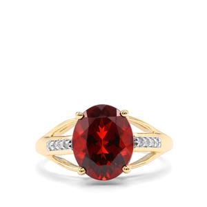Madeira Citrine & Diamond 10K Gold Ring ATGW 2.88cts