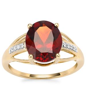 Madeira Citrine Ring with Diamond in 9K Gold 2.88cts